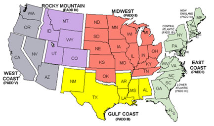 The Tricky Calculus Of Oil Price Differentials Casey Research - Map of the us divided by regions